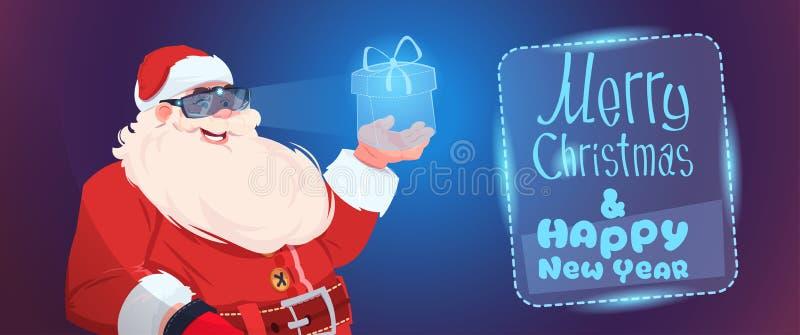 Glad jul Santa Claus Wear Digital Glasses Holding för faktisk närvarande ask och hälsningkort för lyckligt nytt år royaltyfri illustrationer