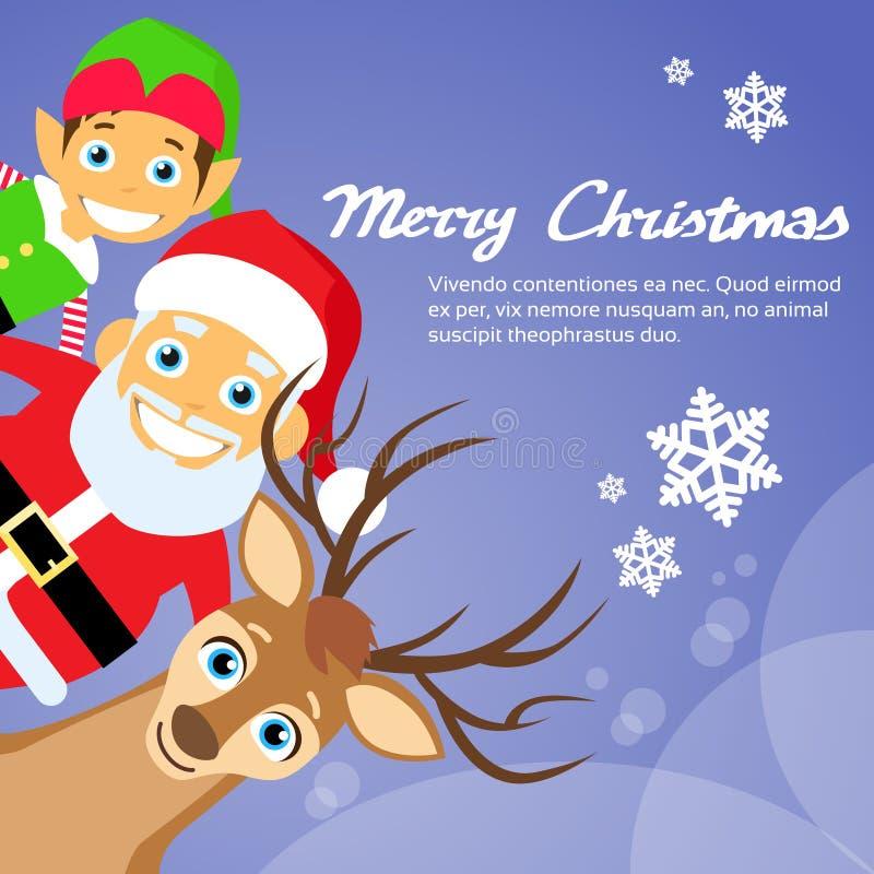 Glad jul Santa Clause Reindeer Elf stock illustrationer
