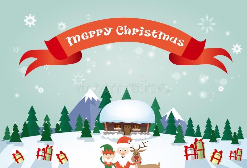 Glad jul Santa Clause Reindeer Elf Character över kort för hälsning för affisch för by för vintersnöhus royaltyfri illustrationer