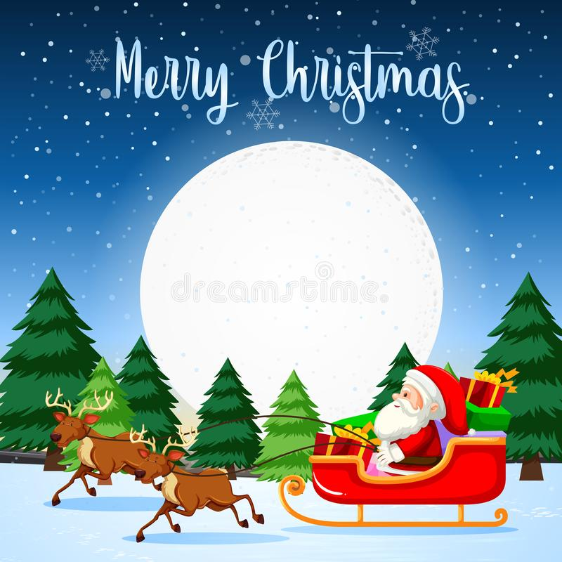 Glad jul Santa Sleigh royaltyfri illustrationer