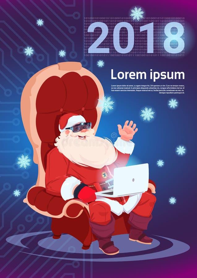 Glad jul Santa Using Laptop Wear 3d för faktiska exponeringsglas och lyckligt nytt år vektor illustrationer