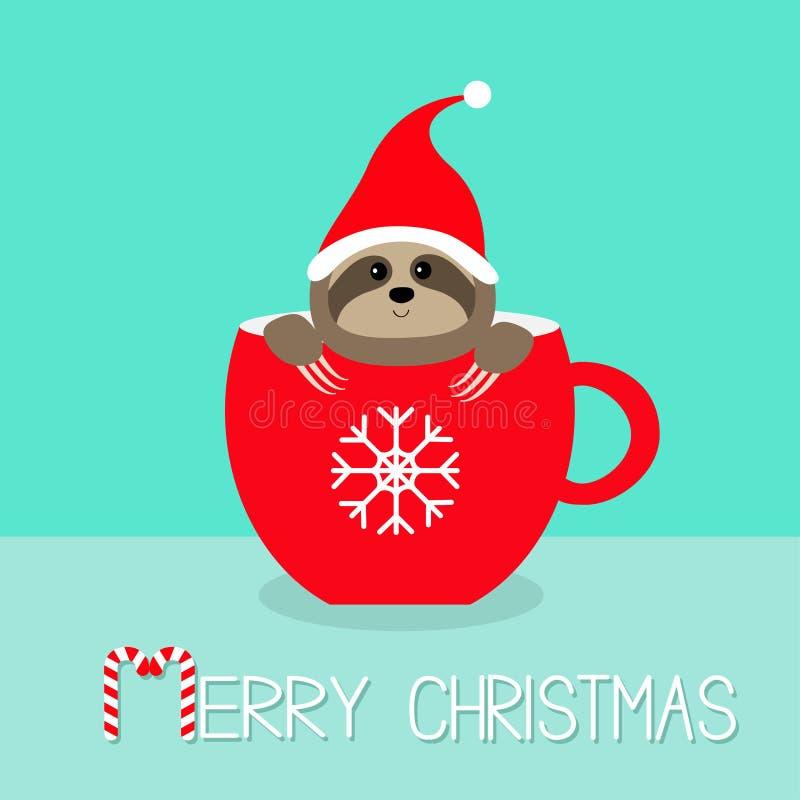 glad jul Sengångare som sitter i röd tekopp för kaffekopp Santa hatt eyes härliga idérika dekorativa ögonfranser för konst makeup vektor illustrationer