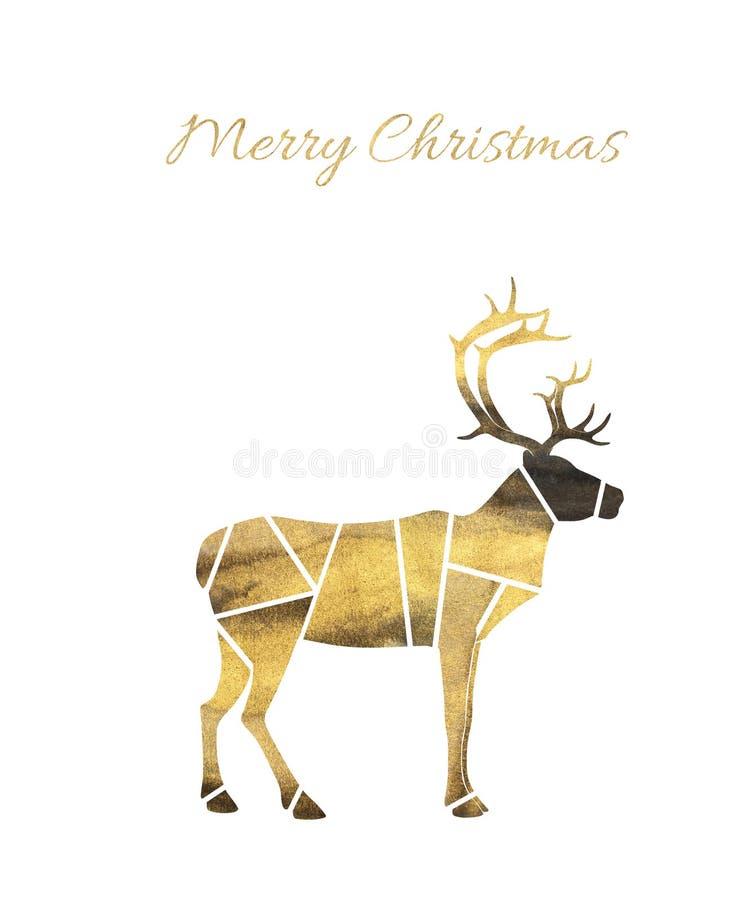 Glad jul smsar hälsningkortet med den guld- hjortkonturn på vit bakgrund vektor illustrationer