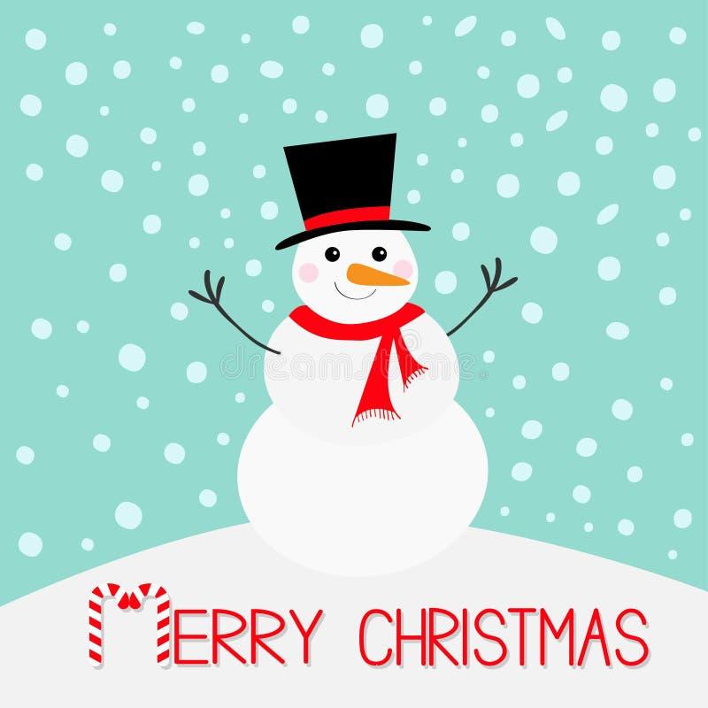 glad jul Snögubbe, morotnäsa, hatt, röd halsduk och snöflingor Roligt kawaiitecken för gullig tecknad film Lyckligt nytt år blå v stock illustrationer