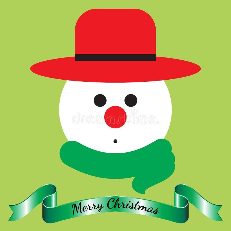 Glad jul - snögubbe och band arkivfoto