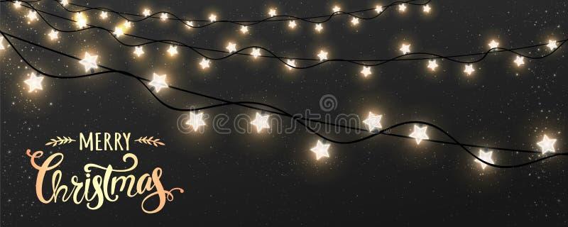 Glad jul som är typografisk på mörk bakgrund med glödande vita girlander för Xmas-garneringar, ljus, stjärnor stock illustrationer