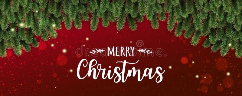 Glad jul som är typografisk på röd bakgrund med trädfilialer som dekoreras med stjärnor, ljus, snöflingor stock illustrationer