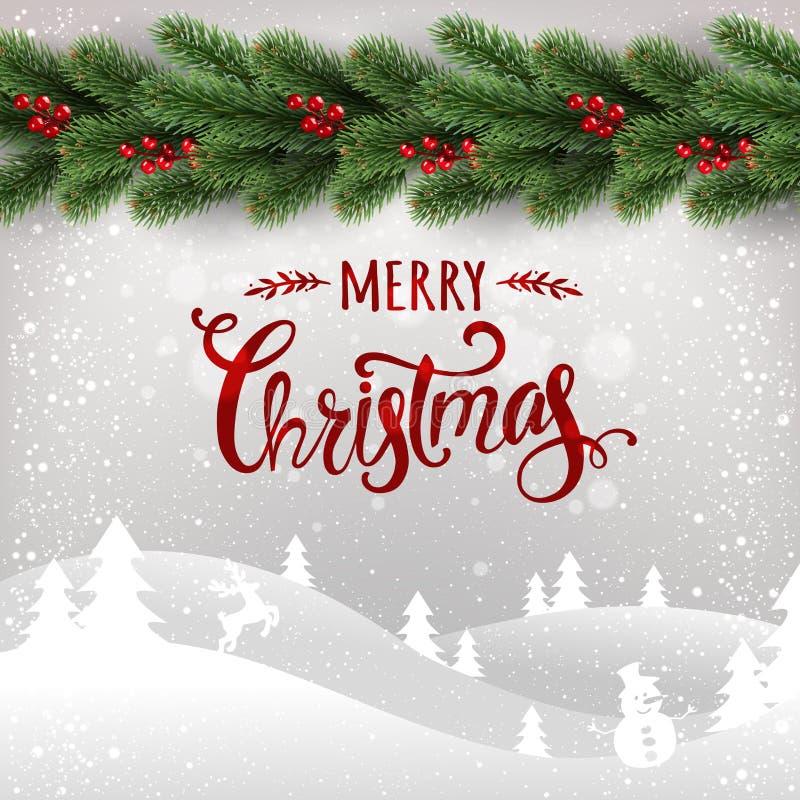 Glad jul som är typografisk på vit bakgrund med girlanden av julgranfilialer, vinterlandskap, snöflingor, ljus stock illustrationer