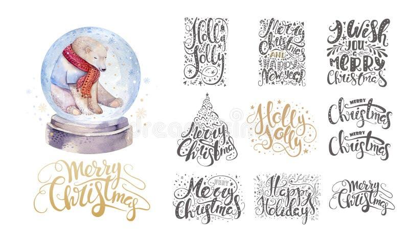 Glad jul som över märker med snöflingor och björnen Dragen hand vektor illustrationer