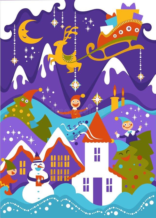 Glad jul som hälsar illustrationen av det snöig landskapet för berg med släden för Santas flygren stock illustrationer