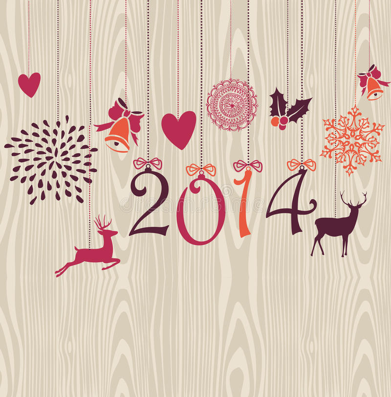 Glad jul som hänger vektorn för det lyckliga nya året för beståndsdelar, sparar. vektor illustrationer