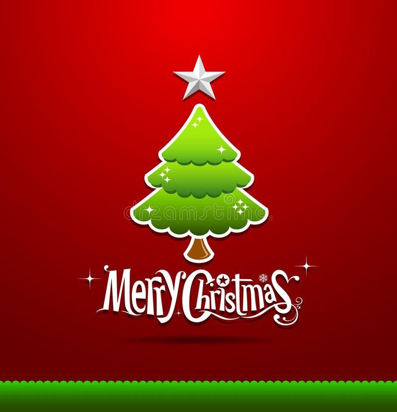 Glad jul som märker den gröna treen royaltyfri illustrationer