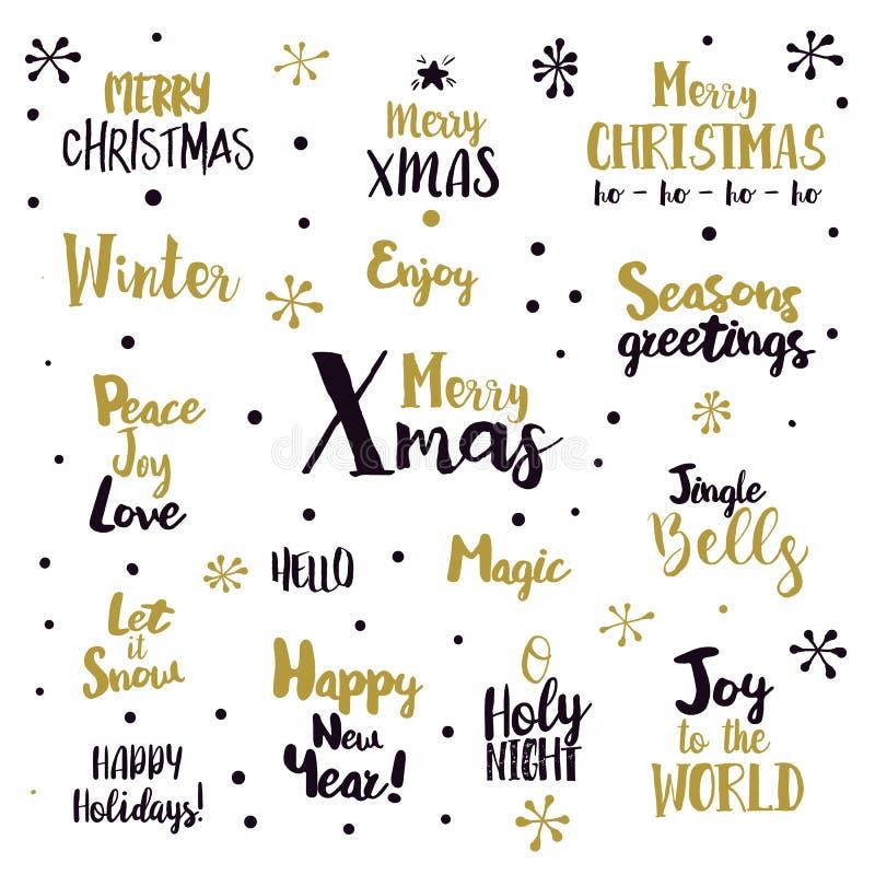 Glad jul som märker designuppsättningen stock illustrationer
