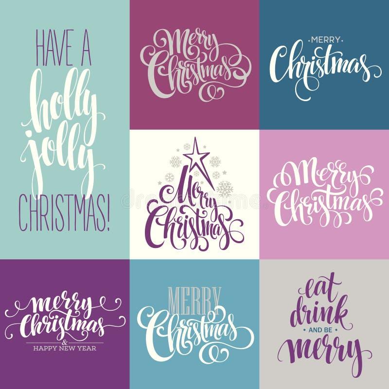 Glad jul som märker designuppsättningen vektor vektor illustrationer