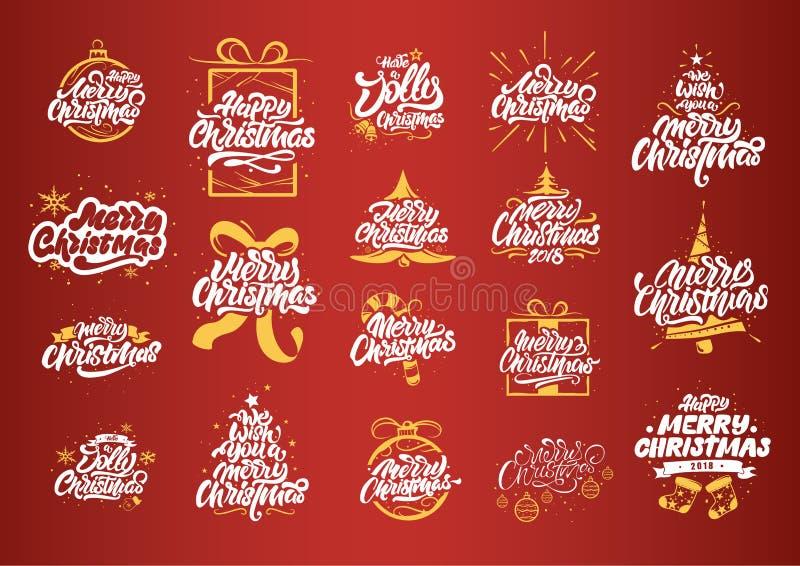 Glad jul som m?rker designer Gula illustrationer för julgran Typografi f?r lyckligt nytt ?r Märka logoer för vykort, vektor illustrationer