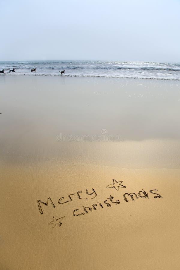 Glad jul som skrivs i sand fotografering för bildbyråer
