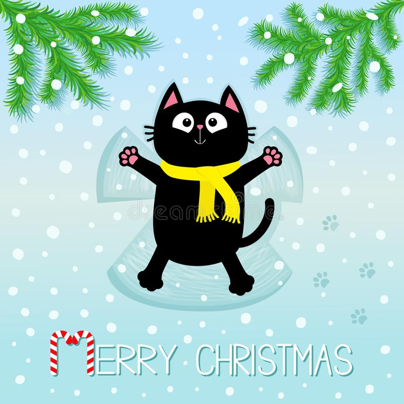 glad jul Svart katt som lägger på baksida Framställning av snöängel gran isolerad treewhite Filialgrangran Att flytta sig tafsar  vektor illustrationer
