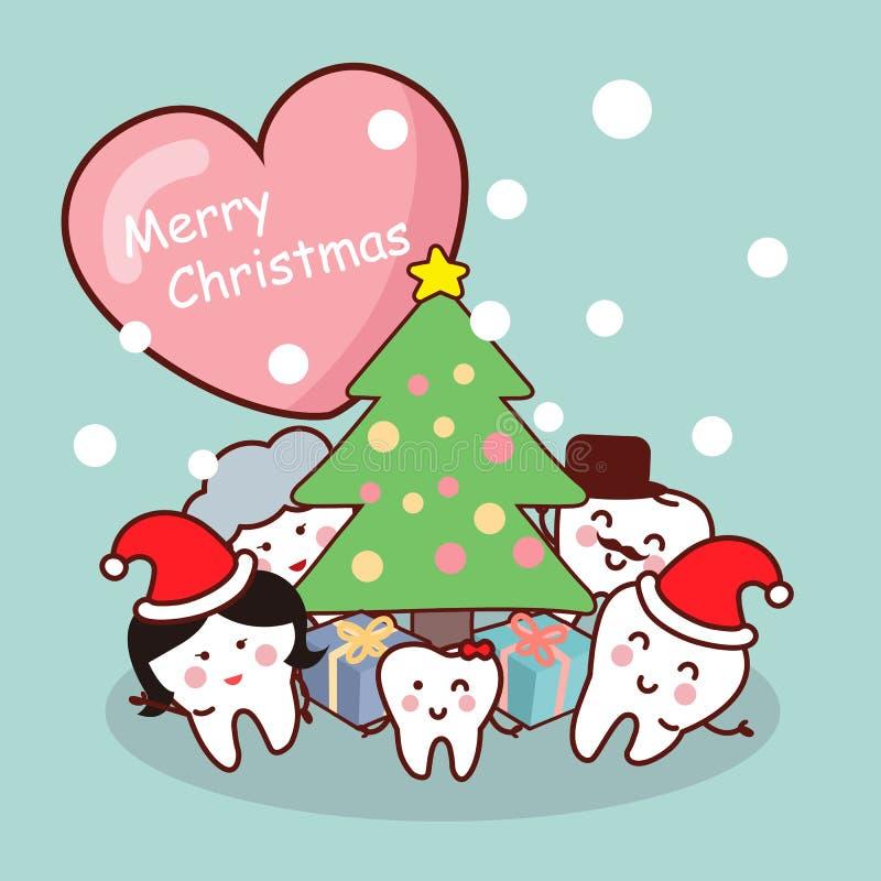 Glad jul till tandfamiljen royaltyfri illustrationer