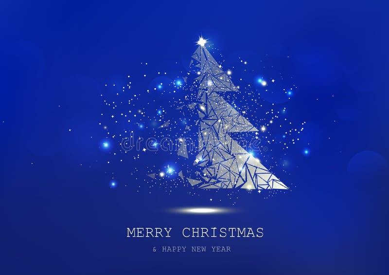 Glad jul, trädpolygonen, konfetti, guld- glödande partiklar sprider, affischen, blå lyx för vykort i vinterbakgrund stock illustrationer