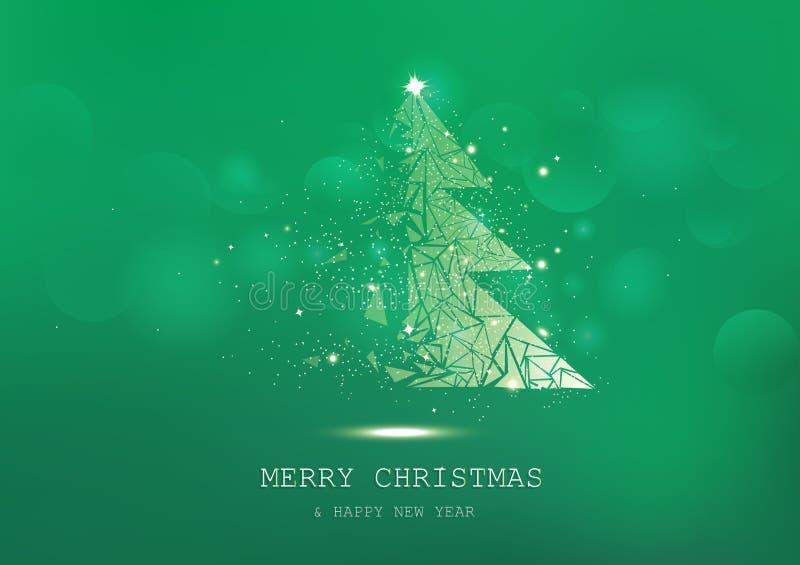 Glad jul, trädpolygonen, konfetti, guld- glödande partiklar sprider, affischen, säsongsbetonad grön lyxig bakgrund för vykortet stock illustrationer