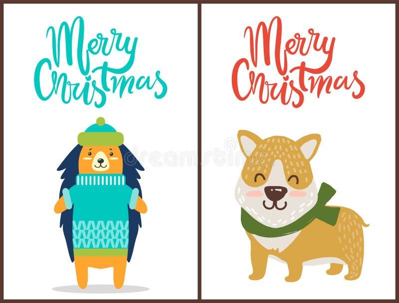 Glad jul två ljusa lyckönskanaffischer stock illustrationer
