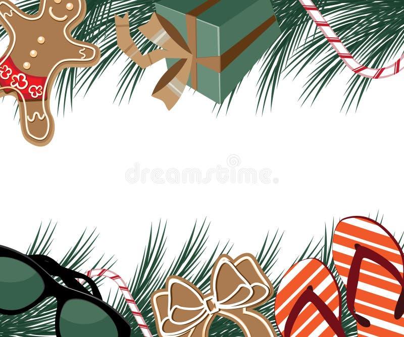 Glad jul värme platsgränsen royaltyfri illustrationer