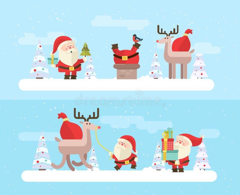 glad jul vektorvinterbakgrund eps 10 royaltyfri illustrationer