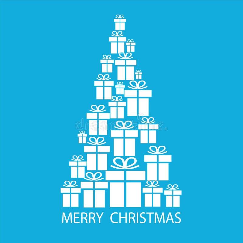 Glad julgran med gåvaaskar på blå bakgrund för ditt stock illustrationer