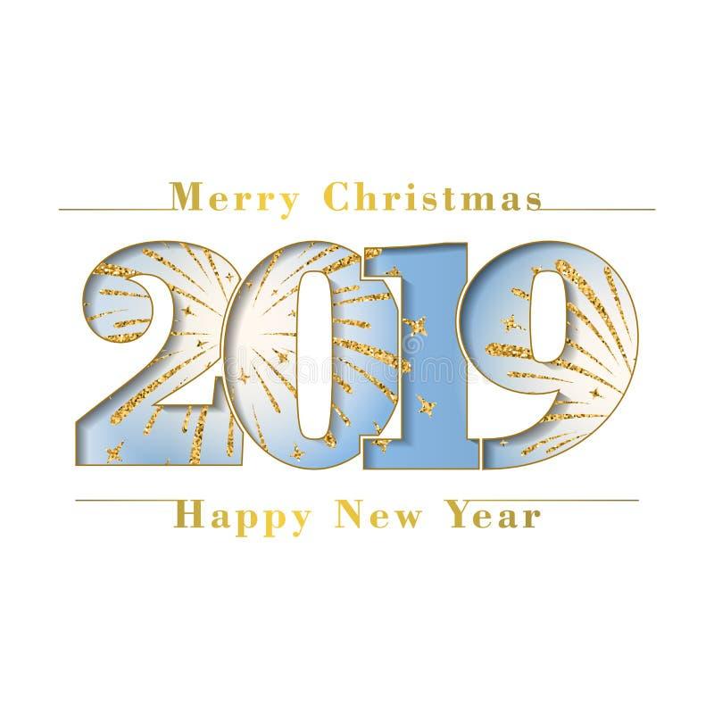 Glad julkort för lyckligt nytt år Blått nummer 2019, snöflingor, isolerad vit bakgrund guld- fyrverkeri brigham stock illustrationer