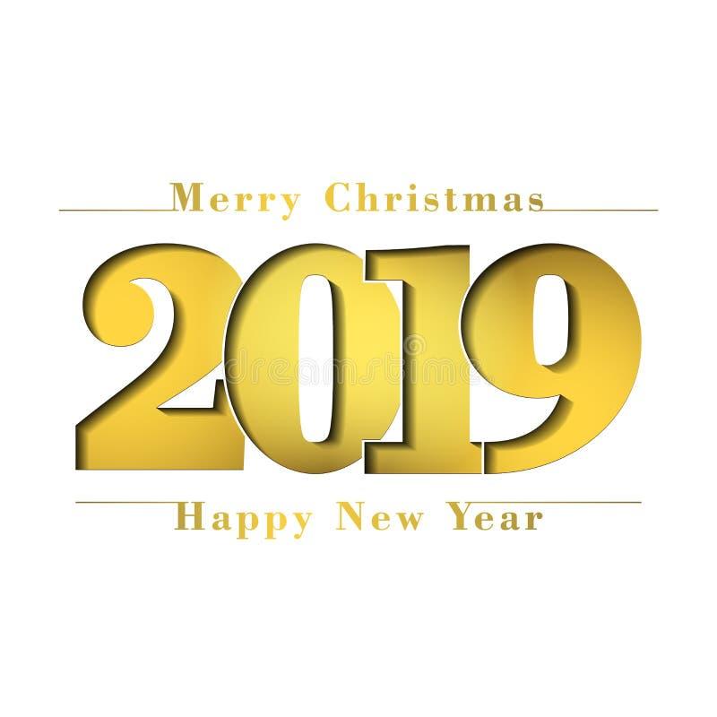 Glad julkort för lyckligt nytt år Guld- nummer 2019 Guld- lutningsiffror som isoleras på vit bakgrund glöda stock illustrationer