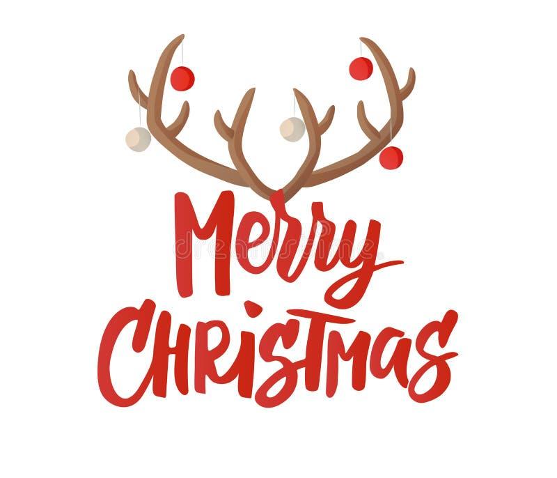 Glad julkort Hand dragen bokstäver Renhorn med julbollgarnering Utmärkt för gåvaetiketter och royaltyfri illustrationer