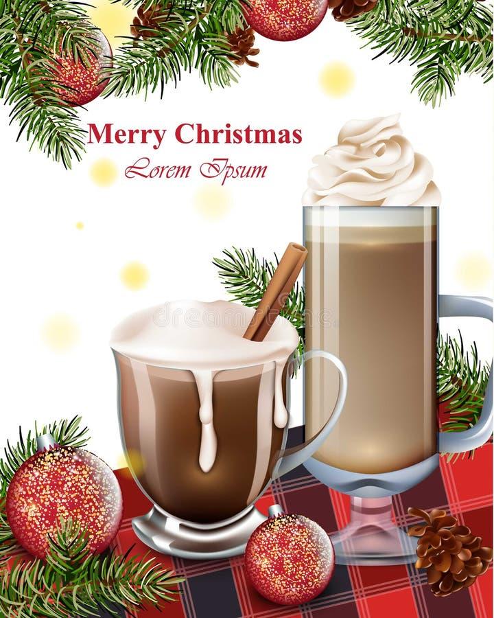 Glad julkort med drinkar för varm choklad Bakgrunder för vinterferie vektor illustrationer