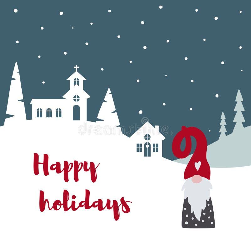 Glad julkort med gullig scandinavian gnom, lantligt landskap och lyckliga ferier för text royaltyfri illustrationer