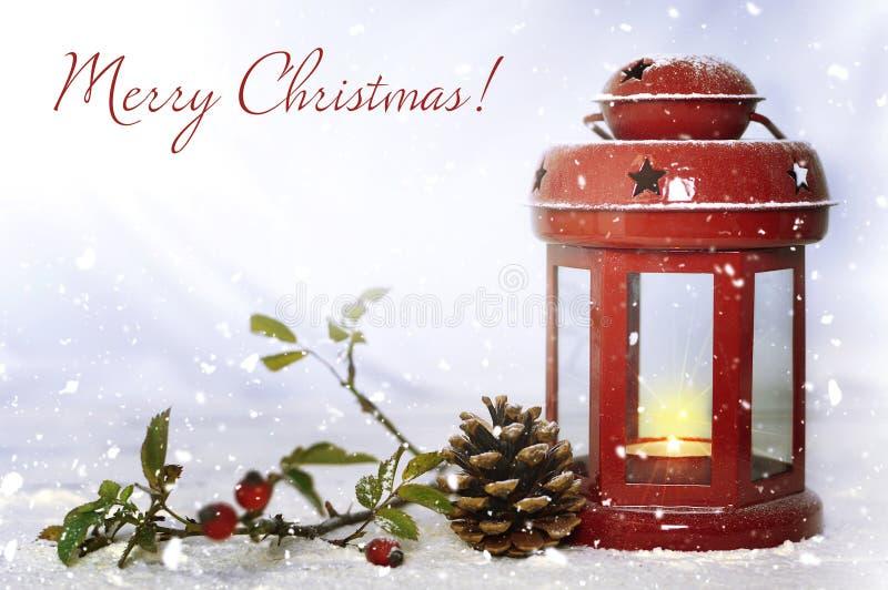 Glad julkort med tappningjullyktan royaltyfri foto