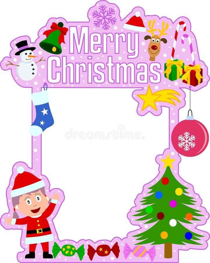 glad julramflicka royaltyfri illustrationer