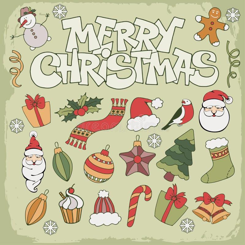 Glad julsymbol stock illustrationer