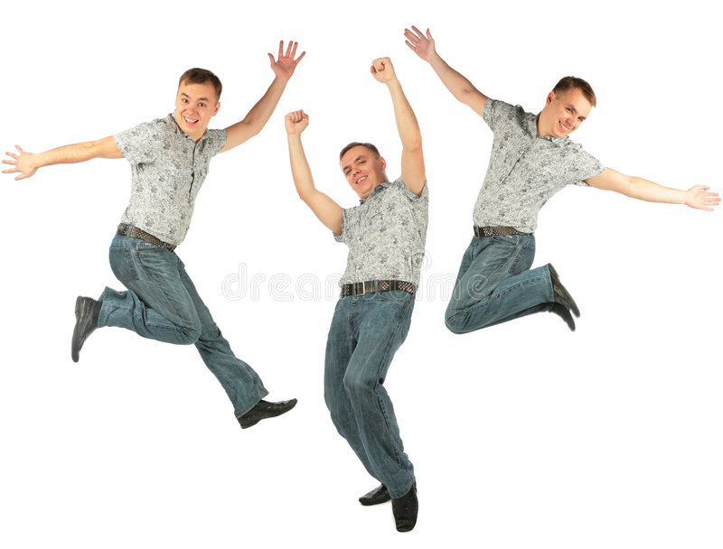 Glad Jumping Person With Raised Hand Stock Photo