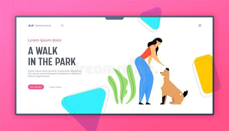 Glad kvinnlig uppspelning med landningssida för hundwebbplatser, använd tid med husdjur, vänskap, livsstil, fritid royaltyfri illustrationer
