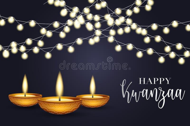 Glad Kwanzaa bakgrundsdesign Traditionellt semesterkoncept Garland, svart och blå bakgrund och vit text vektor illustrationer