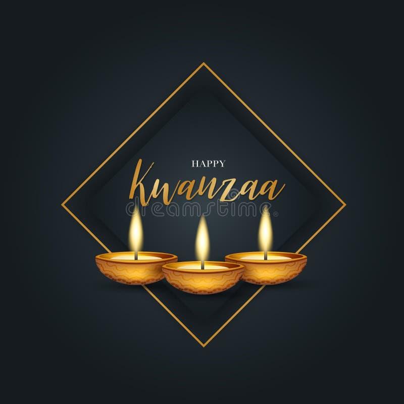 Glad Kwanzaa bakgrundsdesign Traditionellt semesterkoncept Svart bakgrund och gyllene tecken och ram royaltyfri illustrationer