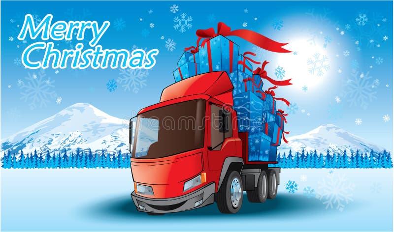 glad lastbil för jul royaltyfri illustrationer