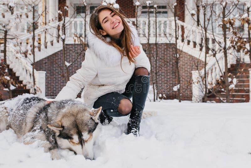 Glad lycklig ung kvinna som har gyckel med den gulliga skrovliga hunden i snö på gatan Det gladlynta lynnet, övervintrar snöa tid fotografering för bildbyråer
