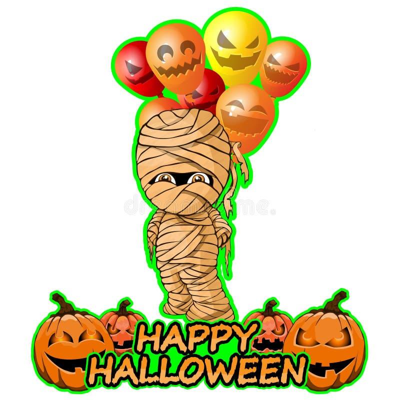 Glad mamma med ballongönska lyckliga halloween royaltyfri illustrationer