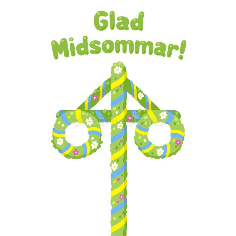 Glad Midsommar Midsummer Maypole. Glad Midsommar Happy Midsummer in Swedish Traditional summer solstice celebration in Sweden with flower and ribbon decorated vector illustration