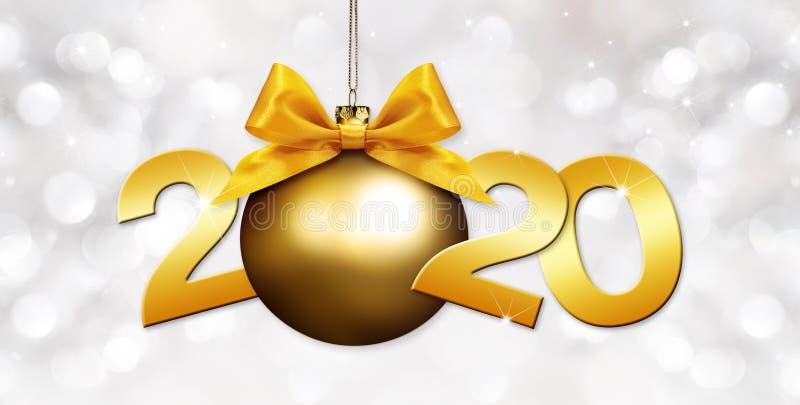 2020 Glad nyårstext med gyllene julboll och bandbåge isolerade på suddigt ljus Bakgrund för flygblad och hälsningar stock illustrationer