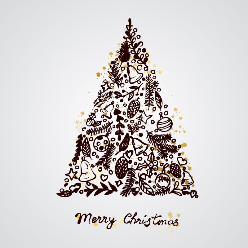 Glad sammansättning för julgrangarneringbeståndsdelar vektor illustrationer
