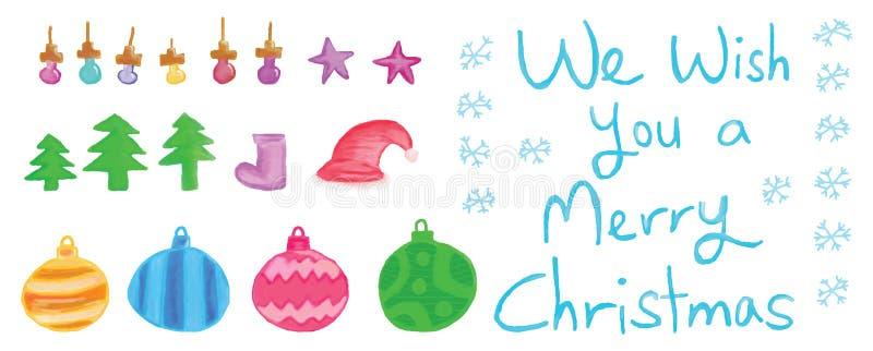 glad set för jul royaltyfri illustrationer