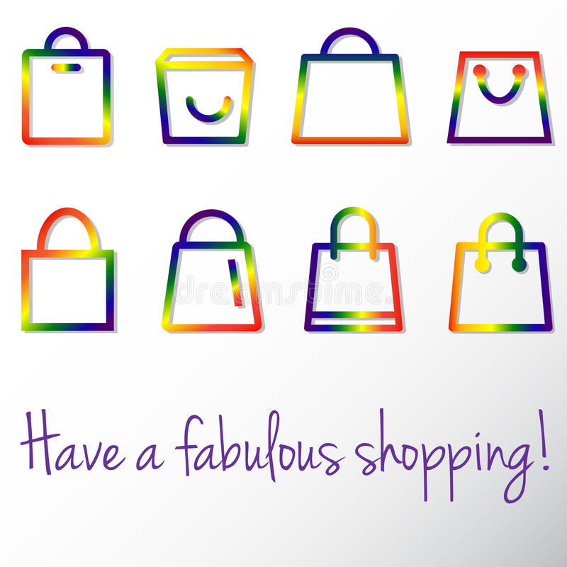 Glad shopping stock illustrationer