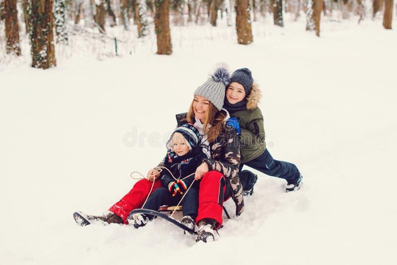 Glad slätt på snön Mamma och hennes söner har kul i vinterparken Semesterdagar för vinter och julklappar arkivfoto