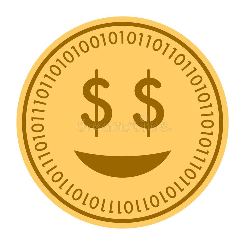 Glad Smile golden digital coin icon. Vector style. gold yellow flat coin cryptocurrency symbol. isolated on white. eps. 10 royalty free illustration